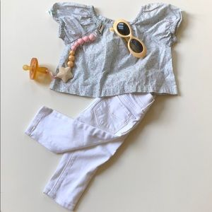GAP   White Jeggings And Peasant Top   3-6 Months